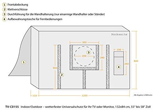 Python TV-Cover - 55' bis 58' Zoll - wetterfeste Schutzhülle für TV / Fernseher und Monitor | Indoor/Outdoor | 132x84 cm - schwarz