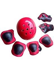 Finer Shop 7Pcs Rodilleras Codo Muñeca Flor Ciruelo Deporte Casco Seguridad Protección Engranajes para Niños Monopatín Patinaje Ciclismo Montar Perfilado - Rojo S