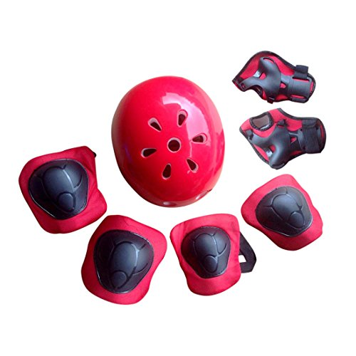 Foxom Set di casco, Ginocchiere, Gomitiere e Guanti in Gel Per Bambini, per Scooter e Bicicletta (Rosso)