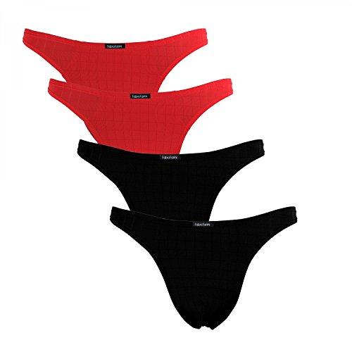 Fabio Farini 4er-Pack maskuline Herren String-Tangas in kräftigem Rot oder Nachtschwarz, Schwarz/Rot, Größe: S (Thong Sexy Stretch)