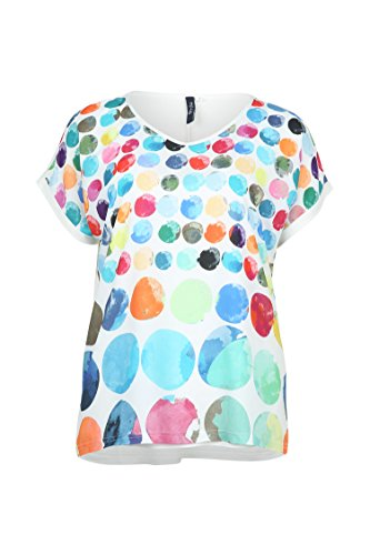 Paprika Damen große Größen T-Shirt mit farbigem Tupfenaufdruck Multi