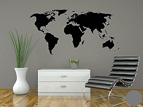 Wandtattoo Weltkarte B x H: 150cm x 76cm Farbe: grau von Klebefieber®