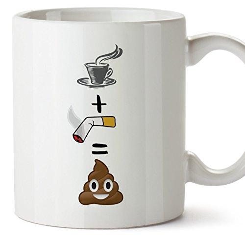 Tazas de desayuno originales y divertidas - Café más cigarro muñeco de barro - Taza con mensaje gracioso - Cerámica 350 ml