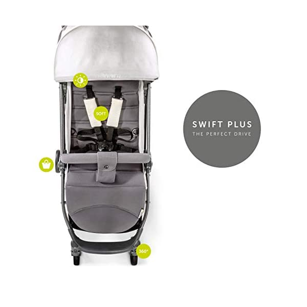 Hauck Swift Plus, Compact Pushchair with Lying Position, Extra Small Folding, One Hand Fold, Lightweight, Carrying Strap, from Birth Up To 15 kg, Lunar Hauck Our smallest comfort stroller Extra small and fast folding with one hand Extremely light - easy to carry over the shoulder 5