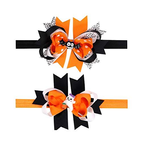 Frcolor 2 stücke Baby Mädchen Halloween Haarnadel Haarspange Bogen Haarnadel Parteibevorzugung Bowknot Kopfschmuck Haar Accessoriess für Kinder (Bat + Kleiner Weißer Mann)