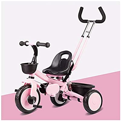 JYY Trike with Parent Handle Kids 3 Wheeler Pedal Bike for 2 3 4 5 Years Old, pink-1