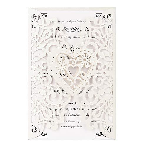 Decdeal Party Einladung 20 Stücke Perle Papier Lasergeschnitten Hochzeits Einladungskarten Grußkarte Kits Event Party Supplies mit Leeren Innenblatt