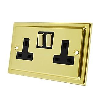 Victorian Polished Brass 2 Gang Socket Black Insert Metal Rocker Switch - 13 Amp Double Electrical Plug Socket