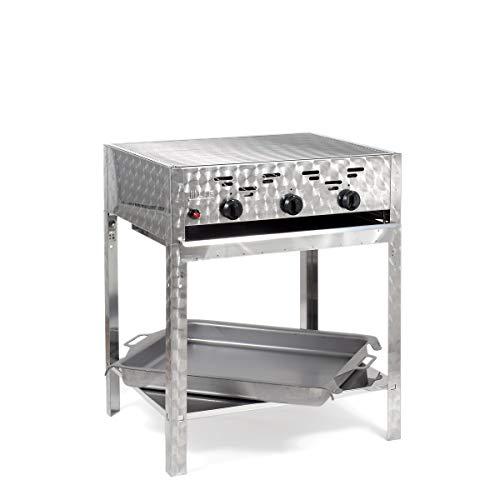 LAG Gasgrill-Kombibräter 11 kW Standmodell mit Grillrost und Stahlpfanne 3-flammig Gasgrill Grill Gastrobräter Profigrill Verein