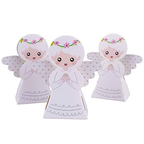 Gudotra 50pz scatole carta kraft angelo per battesimo nascita comunione scatoline portaconfetti per confetti bomboniere matrimonio compleanno
