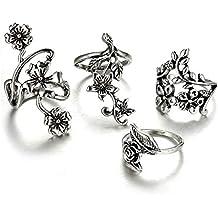 Tempshop 4Pcs anillos de las mujeres retro flores vid hojas de dedo anillos de anillo de