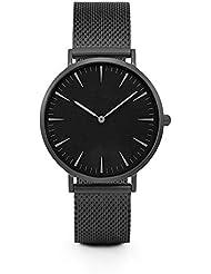 LILICAT Mujeres hombres de acero inoxidable de cuarzo reloj analógico pulsera relojes (Negro)