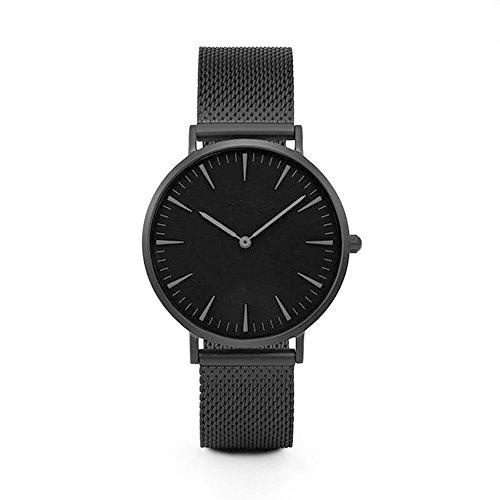 JiaMeng Reloj con Movimiento Cuarzo japonés de Pulsera de Cuarzo analógico de Lujo de los Hombres de Las Mujeres de Acero Inoxidable (Negro)