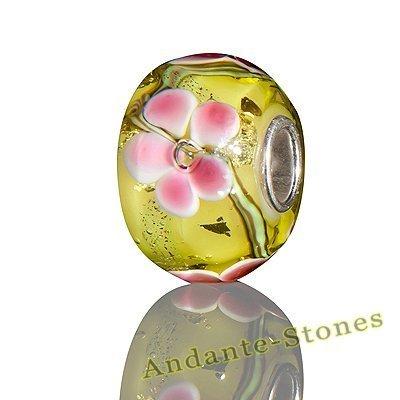 Andante-Stones perle Bead Argent 925 Sterling Silber original et massif SEALIFE verre verte, rose, fleurs Charm pour bracelets et colliers européens + Étui en organza