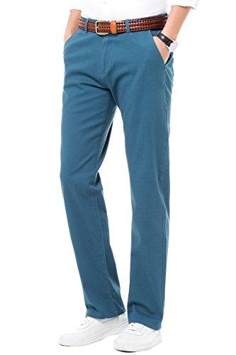 Herren Chino Hose Stretch Regular Fit Stoffhose Chinohose für Männer Freizeithose für Jungen MH104 Blau 34 (Fit Sicher Stretch)