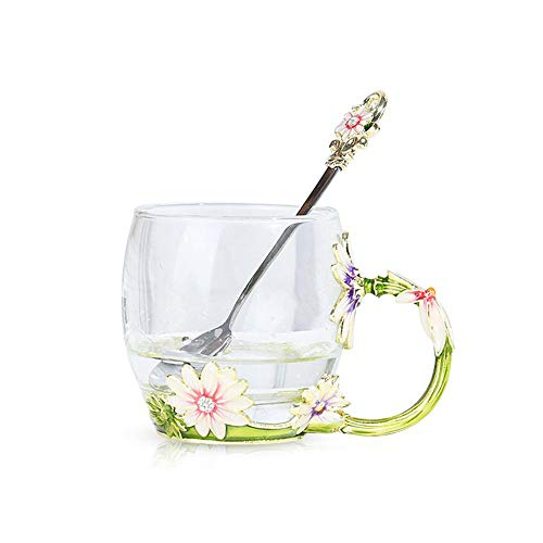 Womdee Tea Cup Coffee Mugs, Creative Enamel Handmade Unique Flower Water Cups With Spoon, Chrysanthemum Crystal Glass Flower Cups For Women Valentine's Day Birthday Presents Decoration Wedding Gift