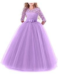 311187d6a Vestido de niña de flores para la boda Princesa Largo Gala Encaje De  Ceremonia Vestidos de Dama De Honor Fiesta Tul…