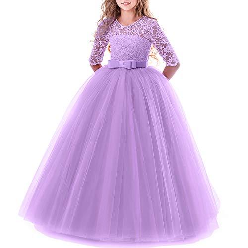 Ibtom castle ragazza ricamato gonna abito da ballo prestazioni, arco in pizzo per bambini principessa abito da sposa manica a cinque punti spettacolo vestito tutu viola 2-3 anni