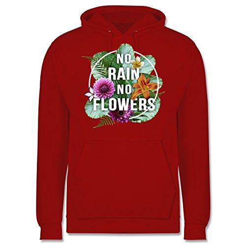 Blumen & Pflanzen - No Rain No Flowers - Männer Premium Kapuzenpullover / Hoodie Rot
