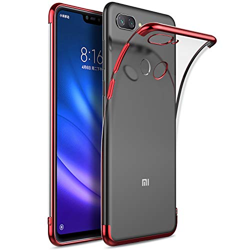 Kugi Funda Xiaomi Mi 8 Lite,Xiaomi Mi 8 Lite TPU Transparente Slim Silicona Case Cover [Anti-arañazos] para Xiaomi Mi 8 Lite(Rojo)