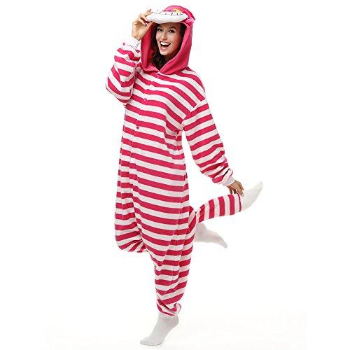 aba8e646a Adult Cheshire Cat Onesie Polar Fleece Pajamas Cartoon Sleepwear Animal  Halloween Cosplay Costume Unisex (L (Height 5'6-5'10))