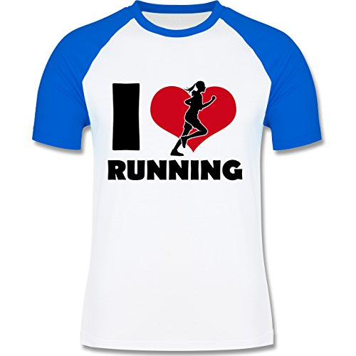 Laufsport - I Love Running - zweifarbiges Baseballshirt für Männer Weiß/Royalblau