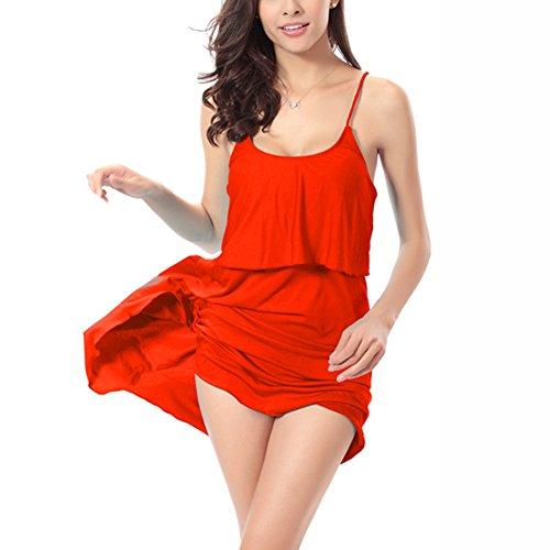 jiajia Sexy Damen Casual Beachwear Badeanzug One Piece Beach Kleid Rot
