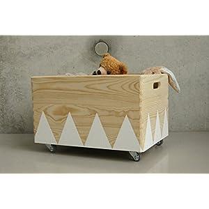 Holz Spielzeugkiste Weiß - Rollen Triangel skandinavisch