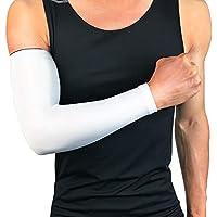Tcare - 1 Brazo de refrigeración para Hombres y Mujeres, protección UV, para Baloncesto y fútbol, para Ciclismo, Color Blanco, tamaño XX-Large