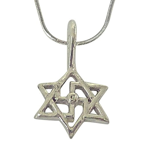 Surat Diamonds Swastik Pendant in Sterling Silver with Silver Finished Chain for Children (SDS202)