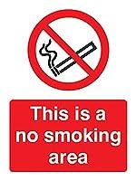 Caledonia Signs 13002E No Smoking Area Sign, Rigid Plastic, E: 200 mm x 150 mm