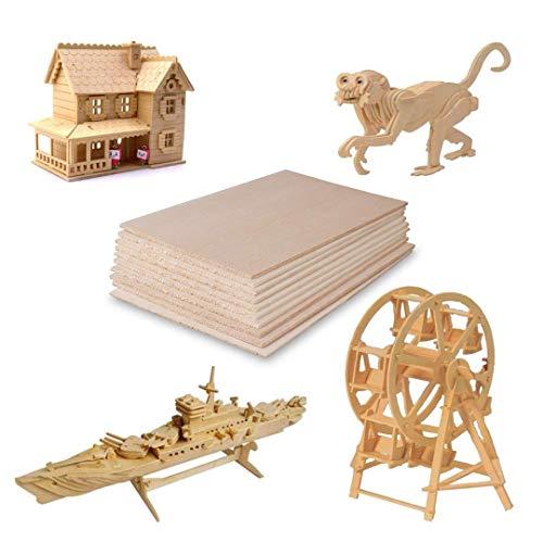 Madera contrachapada,Láminas de madera de balsa para manualidades,DIY Casa Barco Avión Ideal para Pirograbado, Corte por Laser, CNC Router, Modelado, Calado