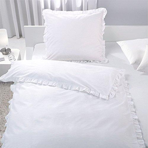 Rüschen-kissen (7dreams® Romantische Bettwäsche mit Rüschen Weiß 100% Baumwolle 135x200cm / 80x80cm - besonders weich - mit Reißverschluss - mit Öko-Tex Siegel Standard 100: