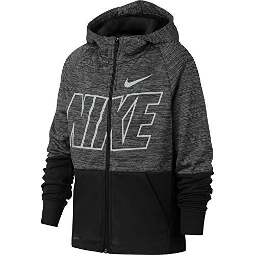 Nike Dri-FIT Therma Veste à Capuche Garçon, Pure/Black/(White), FR : S (Taille Fabricant : S)
