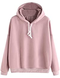 Goosuny Damen Rosa Pullover Modern Tunnelzug Langarm Hoodie Sweatshirt mit  Kapuze Casual Winterpulli Winterpullover Beiläufig Warm bc834a1601