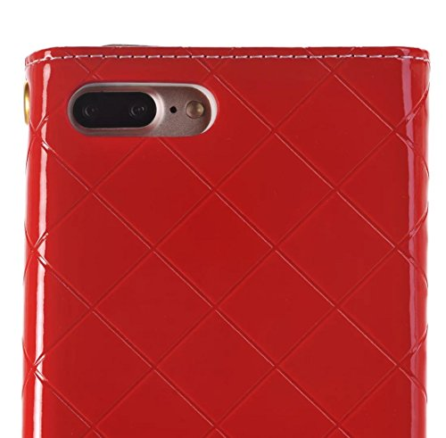 iPhone Case Cover Housse IPhone 7 Plus, surface brillante motif de maille solide couleur sac en cuir affaire sacoche pour Apple IPhone 7 Plus ( Color : Gold , Size : IPhone 7 Plus ) Red
