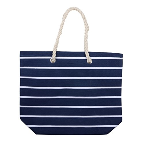 Frauen Umhängetasche für den Strand aus Leinen Sommer Urlaub Stoffbeutel Shopping Wiederverwendbar Handtasche Gestreift / Marineblau