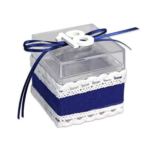 Vetrineinrete® scatoline portaconfetti 36 pezzi per compleanno 18 anni in plexiglass trasparente bomboniera segnaposto diciottesimo con merletto e nastrino scatola confetti blu rosa 304101 a4 (blu)