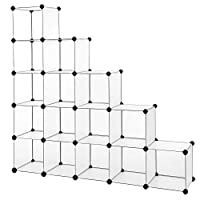 SONGMICS 16-Cube Storage Unit, Shoe Rack, DIY Shelving System, Stackable Cubes, PP Plastic Shelf, Wardrobe, Closet Divider, for Bedroom, Office