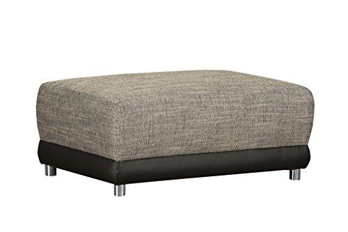 Möbel Akzent Sitzgelegenheiten (Polster Hocker ohne Federkern / Moderner Sitzhocker für Ecksofa / Mit Strukturstoff und Kunstleder in Grau-Schwarz / 99 x 69 x 41 cm (B x T x H))