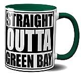 OM3® - Green-Bay - Café - Tasse | Keramik Becher | American Football Mug | 11oz 325ml | Beidseitig Bedruckt | Grün