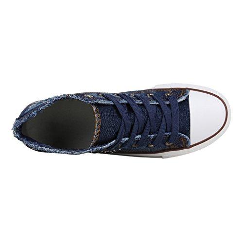 Stivali Paradiso Signore Plateau Sneaker Stampe Metallico Piattaforma Scarpe Anni 90 Look Sneakers Scarpe Pizzo Stampe Fiori Lacca Glitter Flandell Blu Scuro Denim