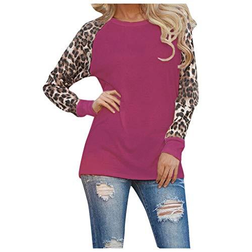 Xiangdanful Damen Pullover Hoodies Leopard Printed Oberteil Bluse Langarmshirt Loose Sport Sweatshirt Oversize T-Shirt Tops Patchwork Pulii Tunika Einfach Freizeit Blouse Jumper (M, Lila) (Leopard Leggings Lace)