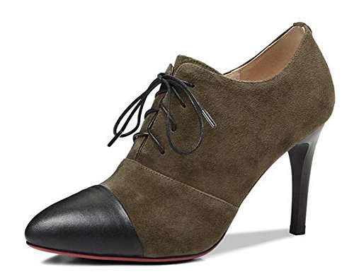 Beauqueen Pompini Stiletto Alta tacco Punta a forma di mandorla Oxford Lace-Up 2017 Primavera Estate Fashion Casual Office Shoes Europa Size 34-39 army green