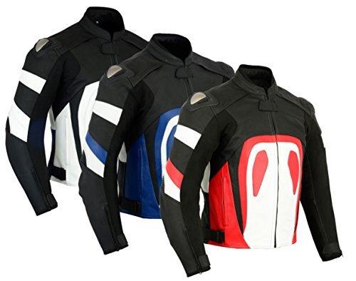 Texpeed RS - Herren Motorradjacke für Rennen mit entfernbaren Protektoren - erhältlich in 3 Farben - Schwarz & Weiß - L - EU54