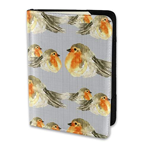 Passport Holder Cover,-D Fall Baby Bird Robin Gray Grey Texture Wallet Credit Card Set Blocking Leather Card Case Travel Accessories 6.5