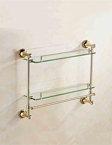Extrem feste Duschregal Alle Bronze Gold Glas Regal Doppelte Schicht Mit Towel Pole WC Kosmetik Rack Europäische Badezimmer Badezimmer Zubehör Qualität sichern (Farbe : 2) - 2 Regal Glas Regal