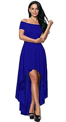 Honeystore Damen's A-Linie/Princess-Linie Off-the-Schulter Asymmetrisch Chiffon Brautjungfernkleid Abendkleid Rötlich-Blau (Kostüm Farbige Kontakte Günstige)