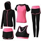 Sokaly 5 Pezzi Tute da Ginnastica Donna Tute Sportive Yoga Fitness Palestra Running Jogging Completi Sportivi Abbigliamento (L, Rosa Rossa 03)