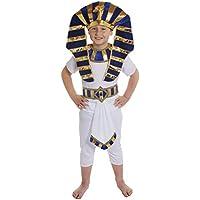 Disfraz de faraón egipcio para niño (camiseta blanca, pantalón, cinturón azul, dorado y blanco con adorno y accesorio para la cabeza a juego, tallas S-XL, de 4 a 14 años)